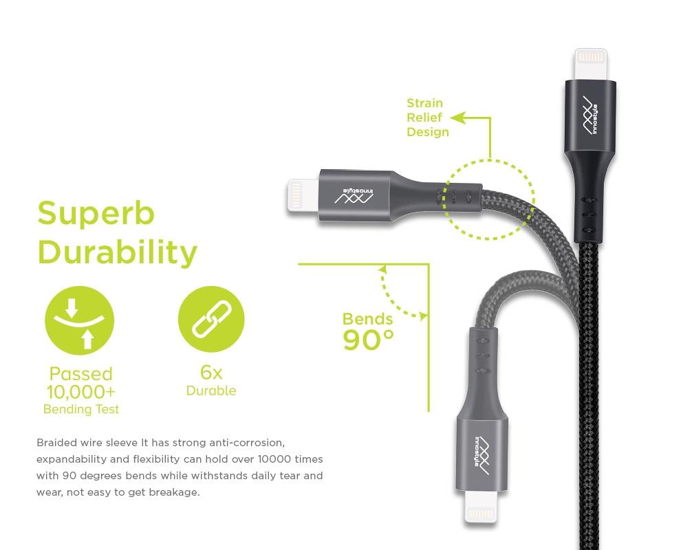 CÁP INNOSTYLE DURAFLEX 1.5M USB-C TO LIGHTNING MFI IPHONE/IPAD/IPOD