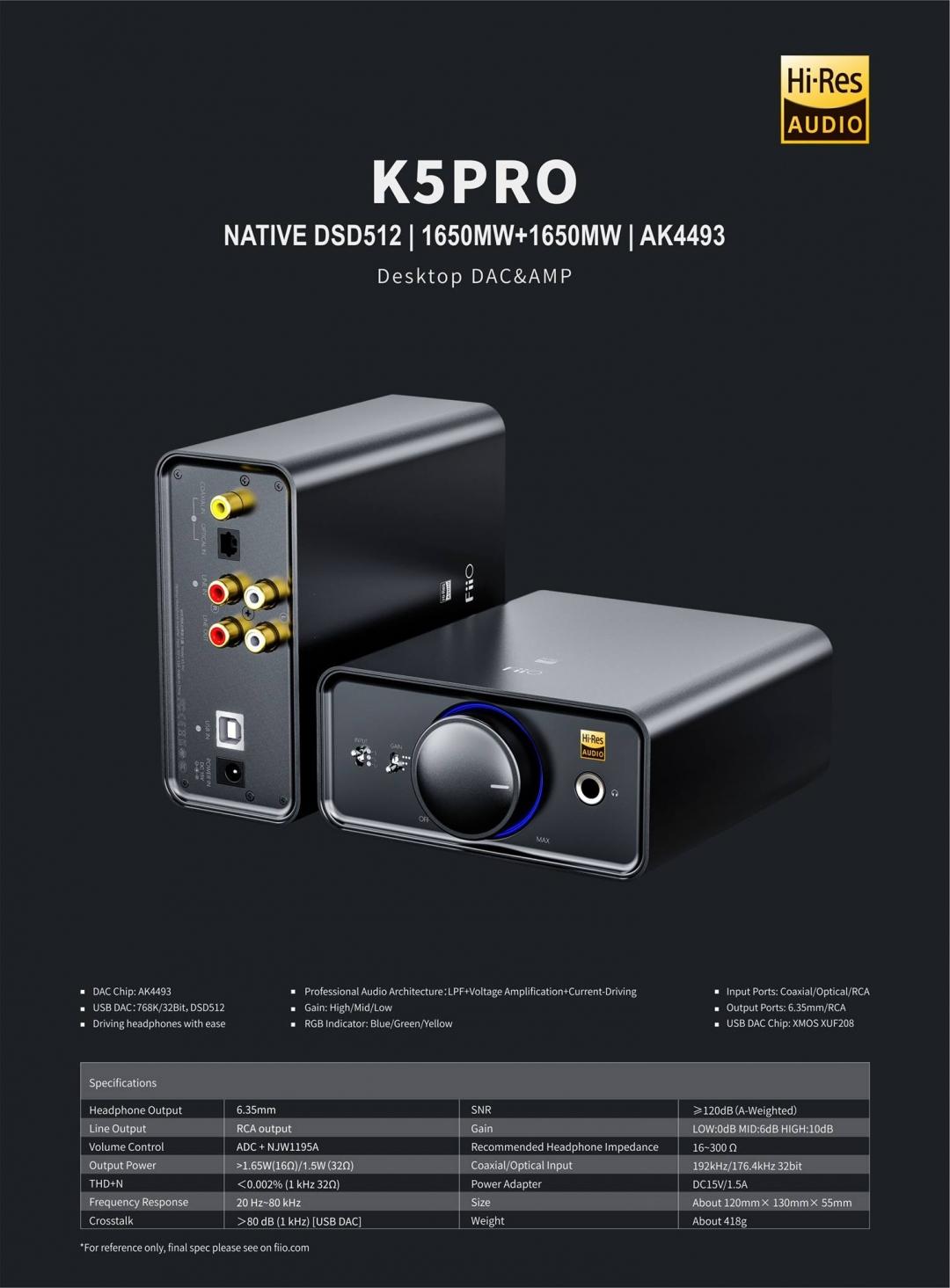 FiiO ra mắt K5 PRO mẫu DAC/Amp chuyên dành cho các tai nghe khó kéo