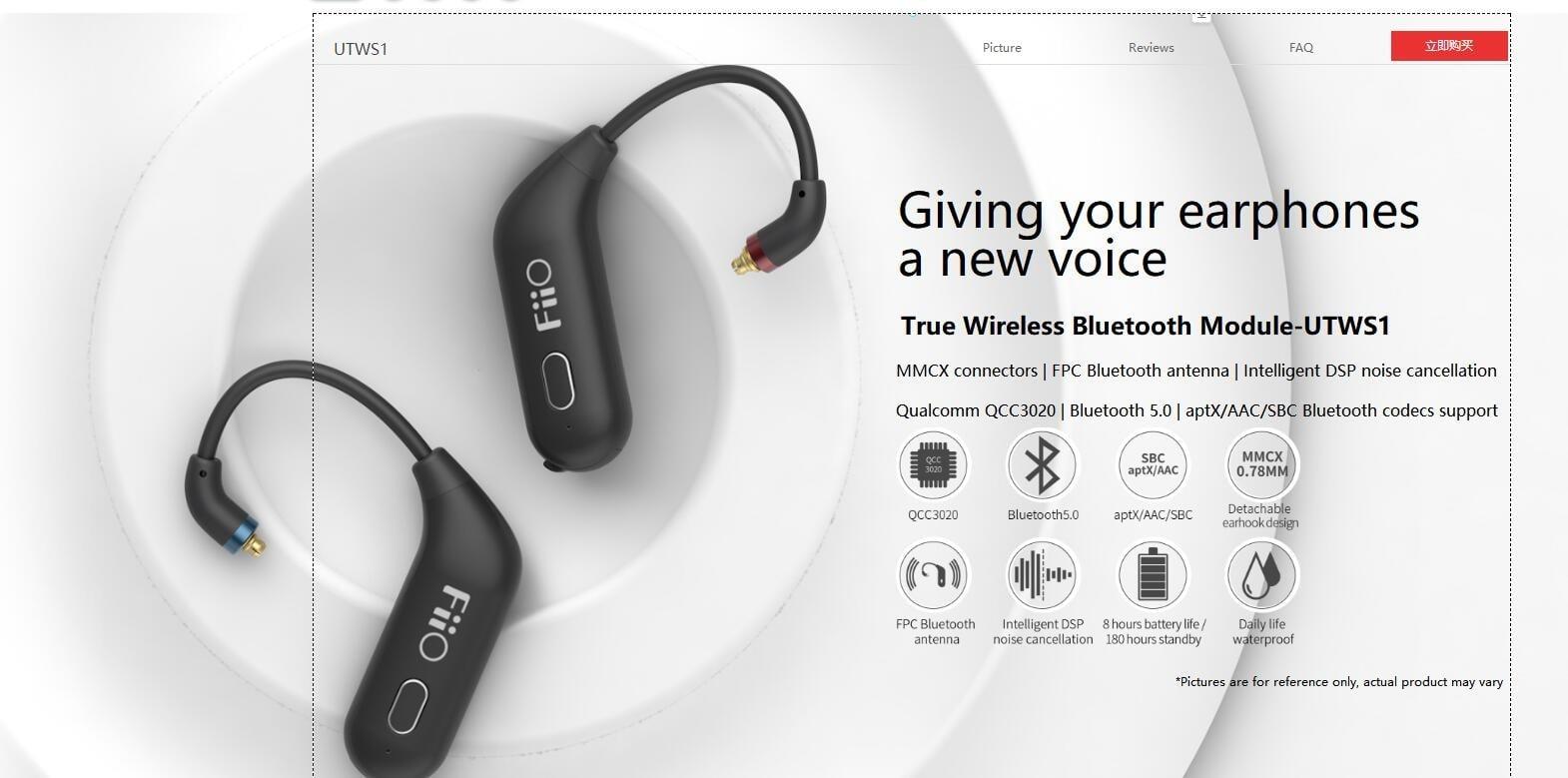 FiiO UTWS1 - Module True Wireless cho các loại in-ear, kết nối MMCX, 2 pin, giá 60 USD