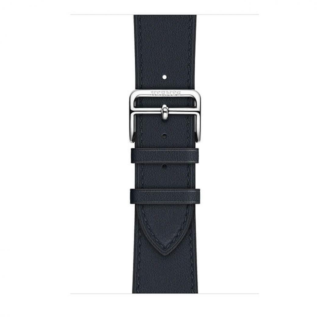 Apple Watch Hermès Stainless Steel Case with Bleu Indigo Swift Leather Single Tour