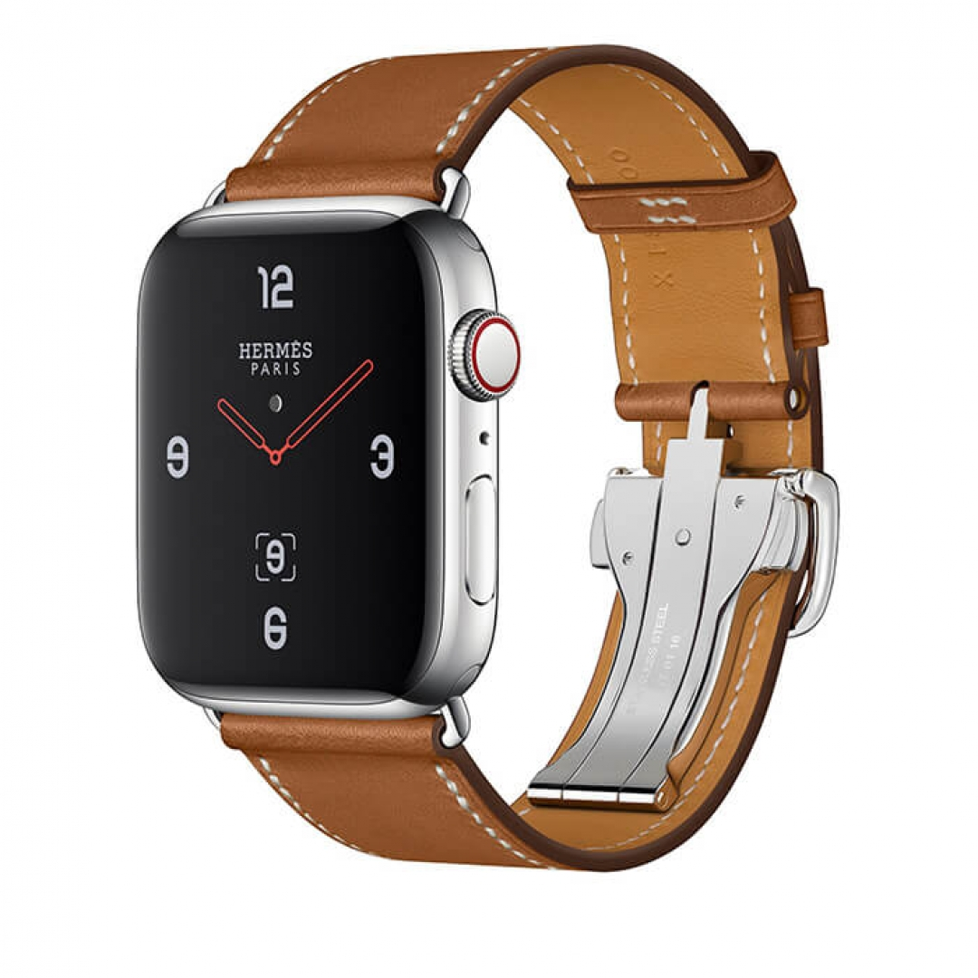 Apple Watch Series 4 Hermès Stainless Steel Case with Fauve Barenia Leather Single Tour Deployment Buckle
