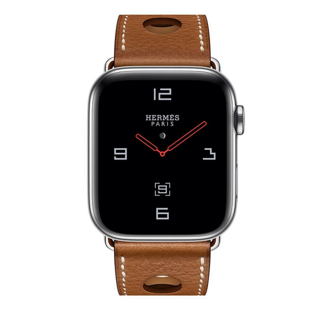 Apple Watch Hermès Stainless Steel Case with Fauve Grained Barenia Leather Single Tour Rallye