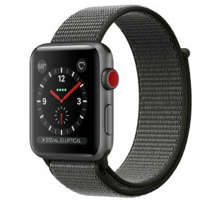 Apple Watch Series 3 GPS + Cellular 38mm - Space Gray Aluminum Case with Dark Olive Sport Loop