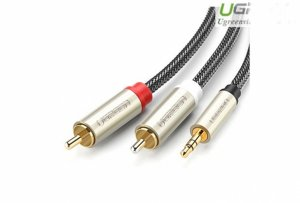 Cáp Audio 3.5mm To 2 RCA Dài 1M Ugreen 20821 Mạ Vàng Cao Cấp